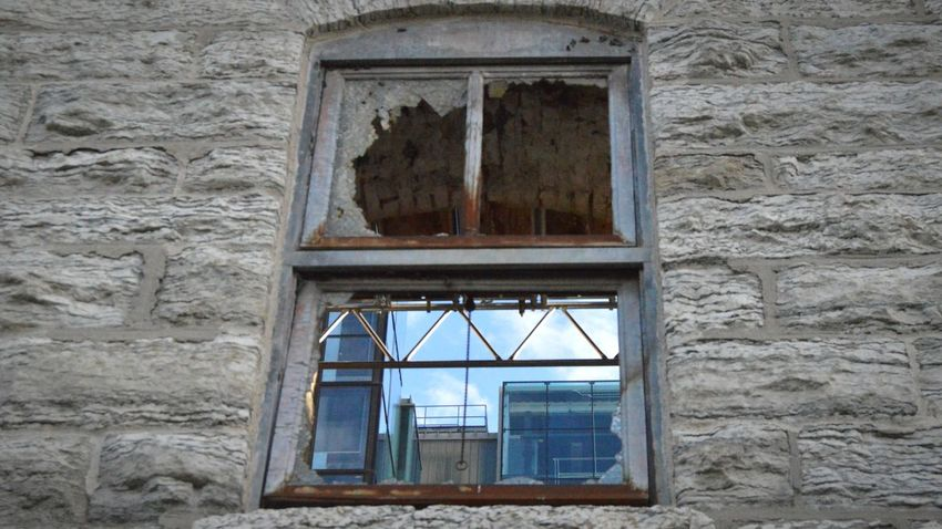 Window Architecture Built Structure No People Close-up History Unused Rusted City Life Exploring Early 19th Century Flour Mill Abandoned Minneapolis Clouds And Sky Old Meets New Old & New Architecture Old And Modern