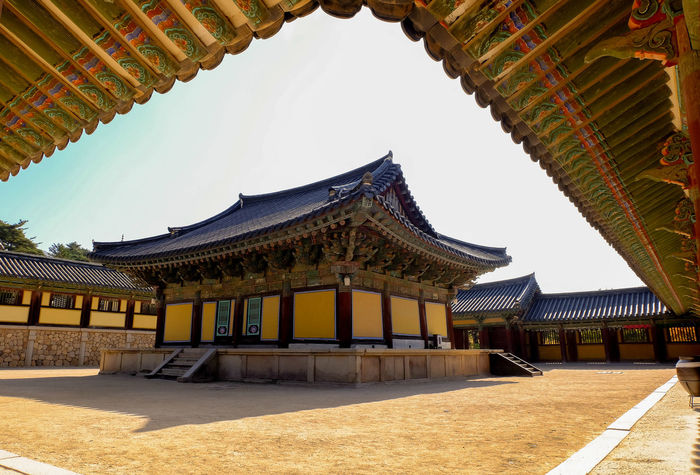 Daeungjeon hall at Bulguksa Temple ASIA Ancient Buddha Geongju Korea Architecture Budhist Bulguksa Cultures Daeungjeon Hall Heritage Historic Silla Temple Travel Destinations