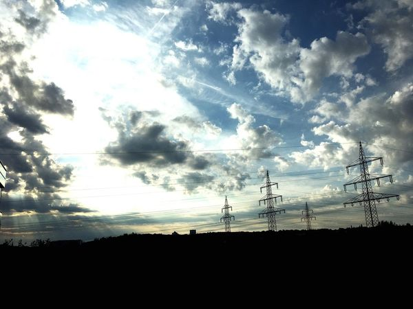 Silhouette Electricity Pylon Sky Cloud - Sky No People Landscape Sunrise Day Outdoors Technology Beauty In Nature Prospect Confidence