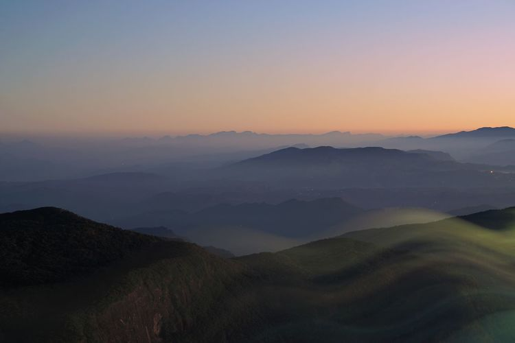 View Of Mountains At Sunset