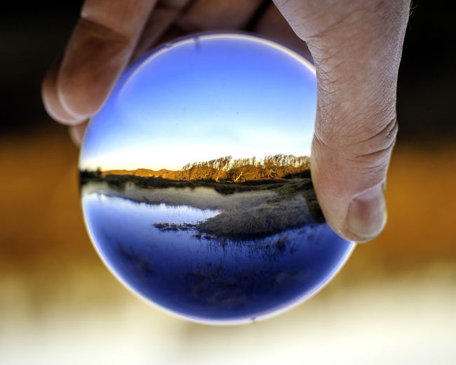Cropped Hand Of Person Holding Crystal Ball With Reflection