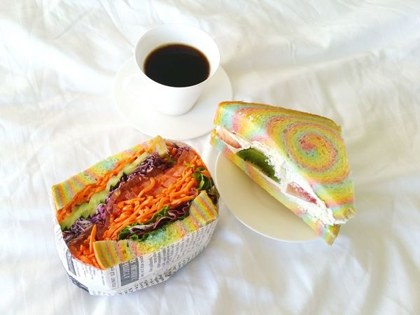 my breakfast🎵food rainbow rainbowsandwich breakfast デリ カフェ cafe deli Cafe Deli Kafuuu Resort Fuchaku Cod Meal Tasty Morning Colourful Colour Of Life Yummy レインボーサンド Caffè レインボー Food Rainbow Colors Rainbow Food Rainbowsandwich Rainbow Breakfast Grumet EyeEm Selects Food Bread No People Indoors  Ready-to-eat Healthy Eating Sandwich Freshness Close-up Food Stories EyeEmNewHere