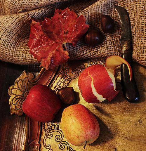 Apples Florentine Tablet Gold Harvest Knife Leaves Old Table Peeled Apple Still Life Tablet Visual Feast