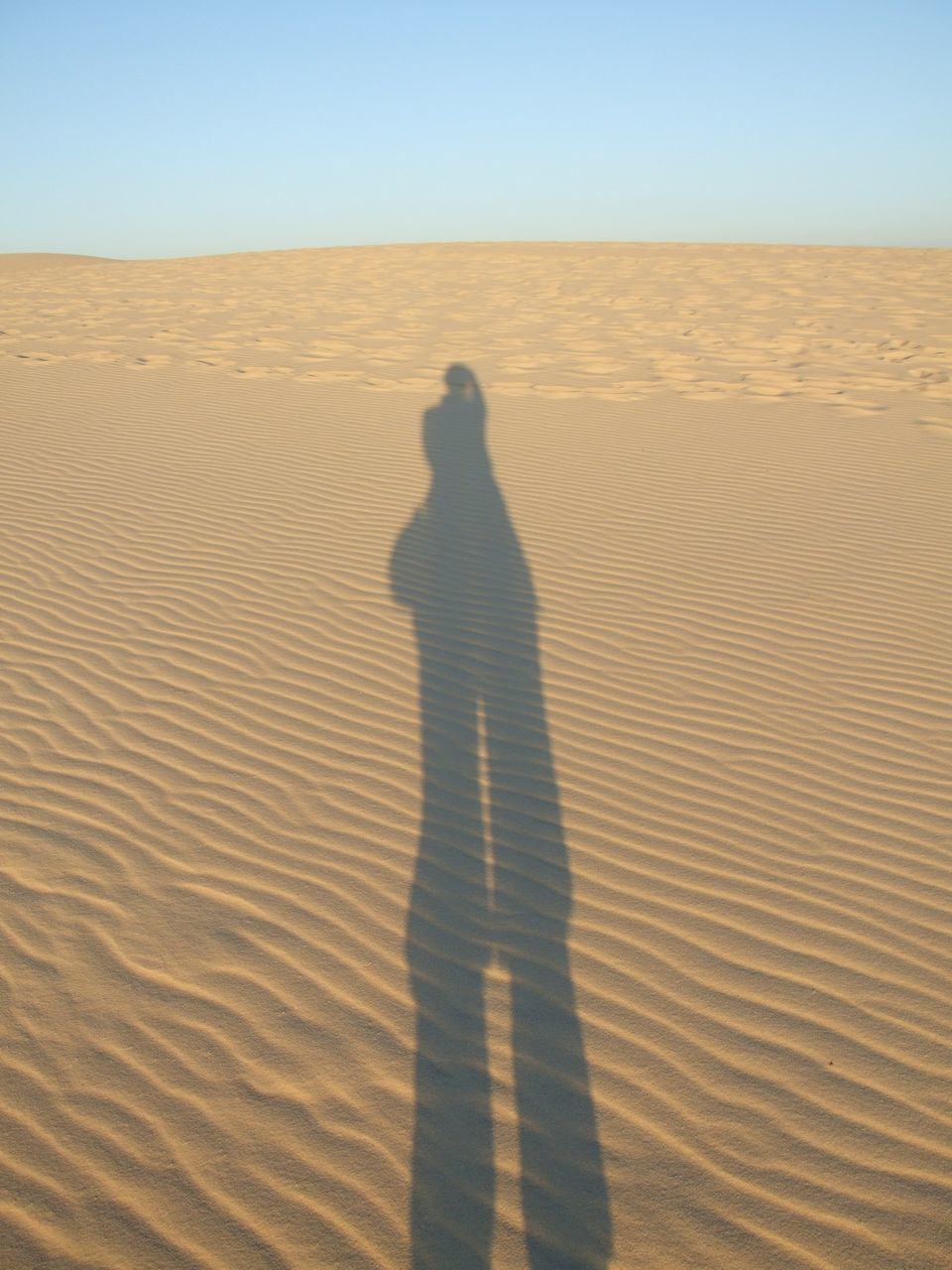 Shadow Of Man On Sand In Desert Against Clear Sky