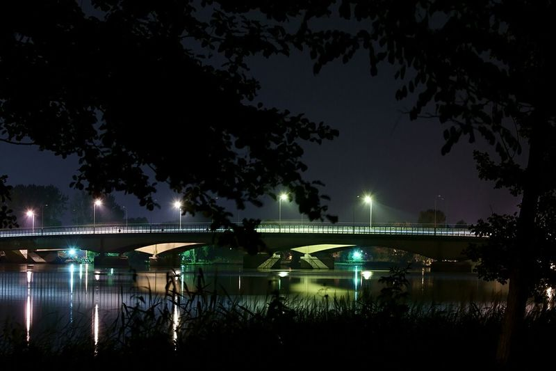 Poland Zegrze Bridge Night Lights Night Light And Shadow Shadow