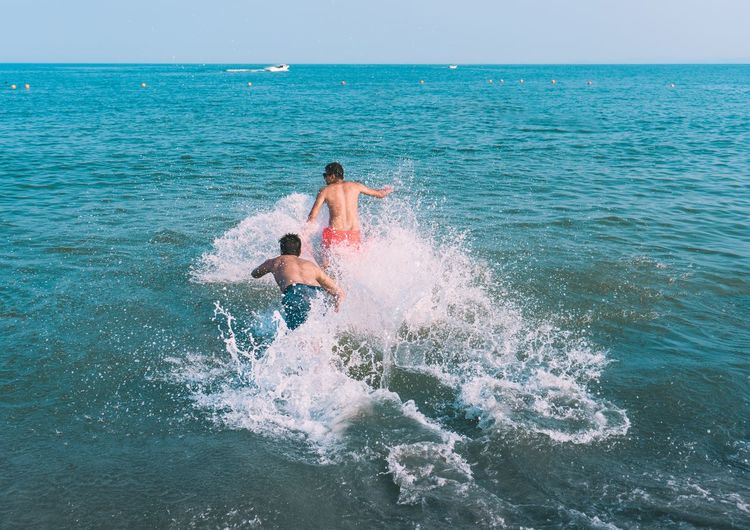 // summer vibe // Fun Run Adventure Beauty In Nature Day Friendship Full Length Horizon Horizon Over Water Leisure Activity Lifestyles Males  Men Motion Nature Outdoors People Scenics - Nature Sea Sky Splashing Sport Summer Summer ☀ Water Wave Exploring Fun