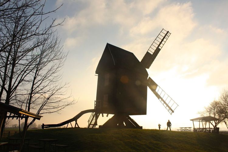 Sunset Sky Outdoors Architecture Day Light And Shadow Light Majestic Contrasting Size Contrasting Light People Windmill Light Games Tranquility Sunlight