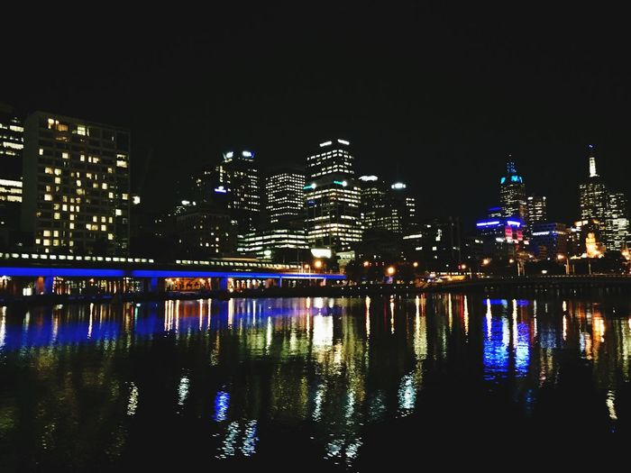 City Melbourne Reflection Night Light Train Building Old And New