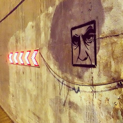 An old spot, on an erased one. Ob5cene Streetart Streets NightStalker Spray Sprayart Stencil Stenciling Graffiti Neverfadeaway Artintown Urban UrbanART Instagraff Streetartisry Streetart_mashhad Mashhad