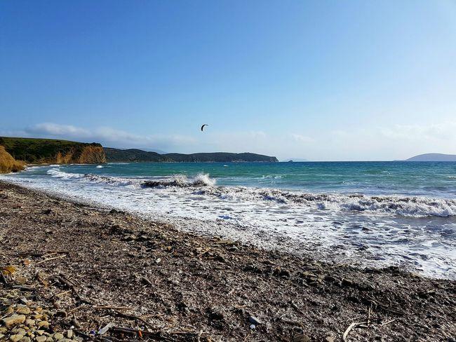 Nature Horizon Over Water Kitesurfing Ocean Outdoor Sport Peleponnes Greece