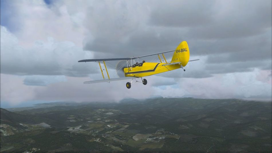 Air Vehicle Flying Mid-air Transportation Mode Of Transportation Airplane Sky Yellow Mountain Day Outdoors Wheel on the move Cloud - Sky Fsx Flight Simulator Ingamephotography In-Game Photography Flight Simulator X Tiger Moth