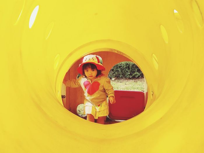 Cute girl in playground