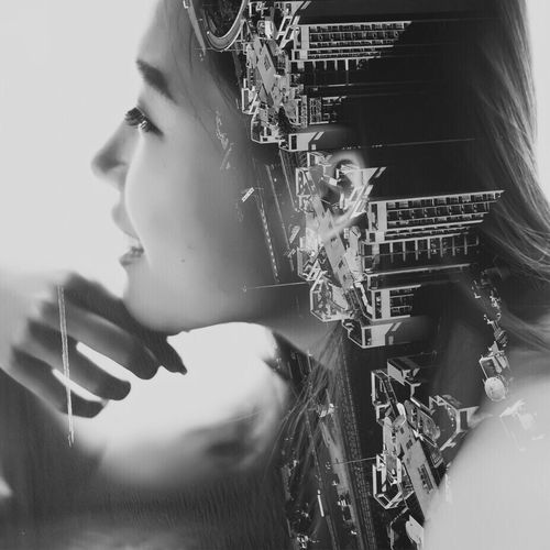 The Mix Up Double Exposure Doubleexposure Portrait Portrait Of A Woman Woman Blackandwhite Black And White City Cityscapes Cityscape HongKong Hong Kong Fine Art Photography Pivotal Ideas Monochrome Photography TakeoverContrast Cut And Paste