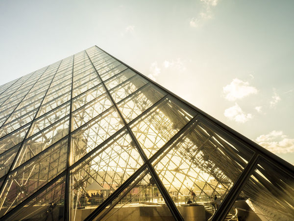 Architecture Building Exterior Built Structure City Day EyeEmNewHere France Futuristic Le Louvre Louvre Modern Outdoors Paris Pyramide Du Louvre Reflection Sky Sky And Clouds Sunny Day Sunset Travel
