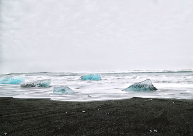 Diamond Beach Iceland Ocean Sea Ice Iceland Diamond Beach Sea Water Beach Land Scenics - Nature Beauty In Nature Wave Nature Horizon Over Water Sky Day Outdoors Horizon Tranquil Scene