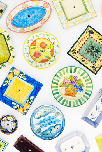 Background Color Colorful Fish Glass Indoors  Mideterranian No People Plate Plates Plates On White Portugal Portugal Plates Pottery Water Watercolor Painting White Background