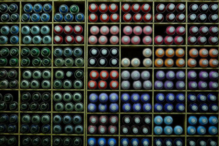 Full frame shot of multi colored bottles