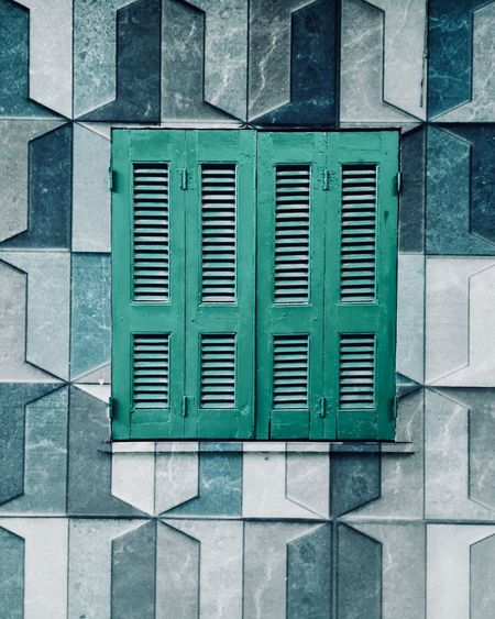 Window Minimalism Minimal Abstract Shapes And Forms Shape Window EyeEm Selects EyeEm Gallery Built Structure Window No People Pattern Wall - Building Feature Building Exterior Green Color Closed Building Outdoors Full Frame Protection Security Wall Geometric Shape Backgrounds Grid Security Safety Green Color Wall Blue