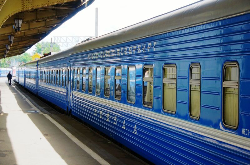 Railwaystation Railway Platform Railway Wagon Passenger Blue Railway Wagons Terminus