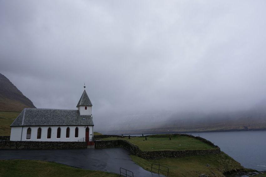 Architecture Cloud Cloud - Sky Cloudy Day Grass Green Color Idyllic Scenics Sky Tranquil Scene Tranquility Viðareiði Water Weather Faroe Islands