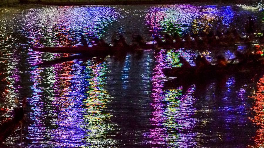 View of illuminated plants in lake at night