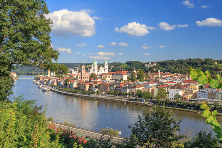Passau at the Danube River Bavaria Cityscape Dom Donau Donauschifffahrt Flußkreuzfahrt Niederbayern Passau Passau, Germany Travel Bayern Beauty In Nature City Day Dome Dreiflüssestadt High Angle View Nature No People Outdoors River River Cruise Scenics Summer Travel Destinations