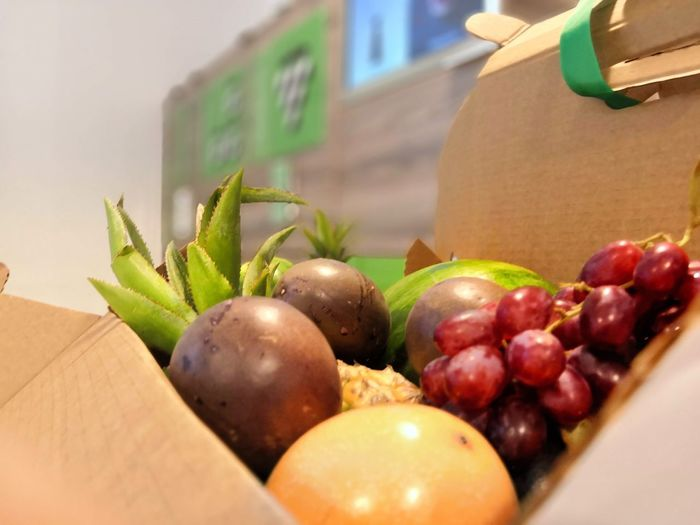 Fruits from the box Food Food And Drink Healthy Eating Wellbeing Fruit Freshness Still Life No People Container Close-up Box Cardboard Box - Container Cardboard Box Indoors  Focus On Foreground Selective Focus Strawberry Berry Fruit