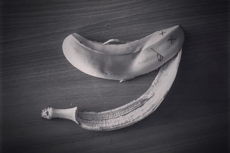 Close-Up Of Banana Peel On Table