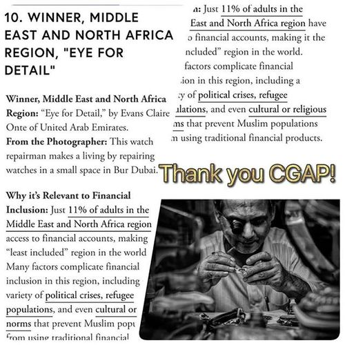 Thank you CGAP, World Bank for choosing my photo entry as the WINNER in Middle East and North Africa Region. With 3,300 entries from 77 countries, it is amazing to represent my country Philippines and my second home Dubai.. CGAP Cgapphoto Cgap2015 Pinaypride Pinayofw Pinasrepresent Streetphotographer Streetphotography Photojournalism Winner WashingtonDC Worldbank Environmentalportrait ProudLitratistasaDaan