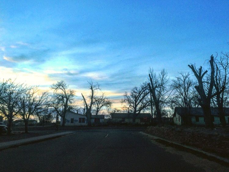 Bare Tree Road Tree Sky Built Structure Architecture Building Exterior The Way Forward No People Outdoors Transportation Day Nature Carry On Sunset Travel