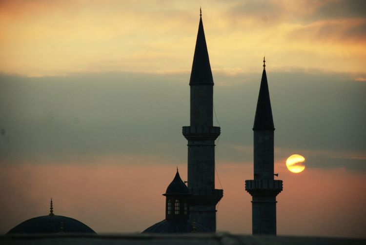 Selimiye mosque against sky during sunset