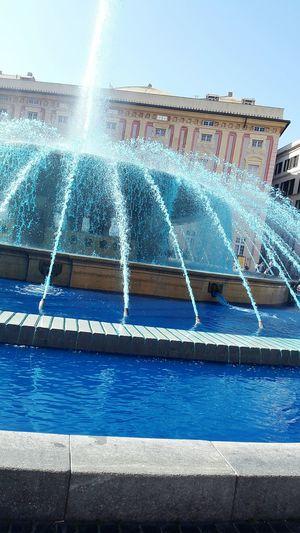 Fontana piazza De Ferrari, Genova Genova Fontain Blue Color Italy Genoa Beautiful Architecture Cool Water Acqua Palace Red Arancione Schizzi Amazing
