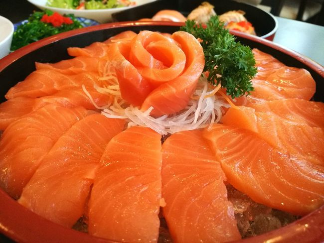 sashimiReady-to-eat Freshness Food And Drink Raw Food Close-up Indoors  Salmon Sashimi Japanese Food Lunch Dinner Buffet Time!!! Delicious Pattern