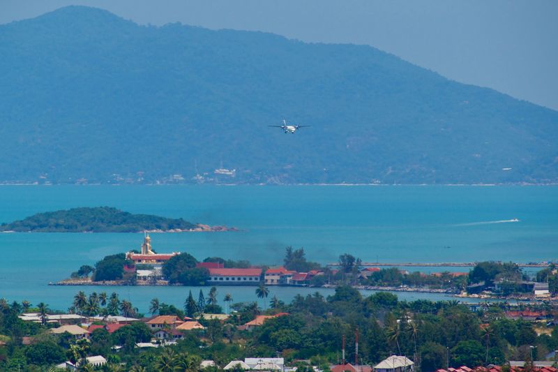 Air Vehicle Flying Airplane Mid-air Sky Day Building No People Mountain Scenics - Nature Outdoors Travel Destinations Landscape Coastline View From Above Overlooking The Sea Island Koh Samui,Thailand Travel Photography Nature Architecture Viewpoint