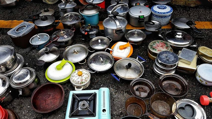 Large Group Of Objects Caserole Circle Kitchen Equipment Cooking Pot Pot Cooking Pan Cooking Equipment Flea Market EyeEm EyeEmNewHere Eyeemphotography Eyeem Market