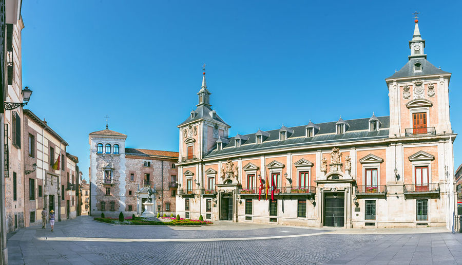 old Plaza de La Villa in the old town of Madrid, Spain Ancient Architecture Blue Building Exterior Built Structure Capital Cities  City Clear Sky Day Madrid No People Outdoors Place Of Worship Plaza De La Villa Religion Sky Spirituality Villa