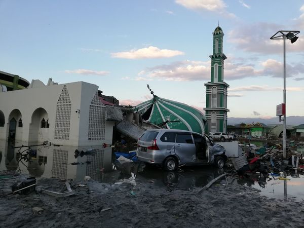 a mosque collapsed after a magnitude 7.4 earthquake hit the city of Palu in central Sulawesi, Indonesia on Friday 28 September 2018 triggering a Tsunami and land liquefaction claiming over thousands of lives and displacing almost 80 thousand people. Earth Fault Seismic Activity Palu Koro Fault Geology Abandoned Car Damaged Architecture Damaged Building Emergency Situation Natural Disaster In Indonesia Collapsed Mosque Palu Earthquake And Tsunami 2018 Natural Disaster Huawei Nova 2i Unedited Unfiltered Sky