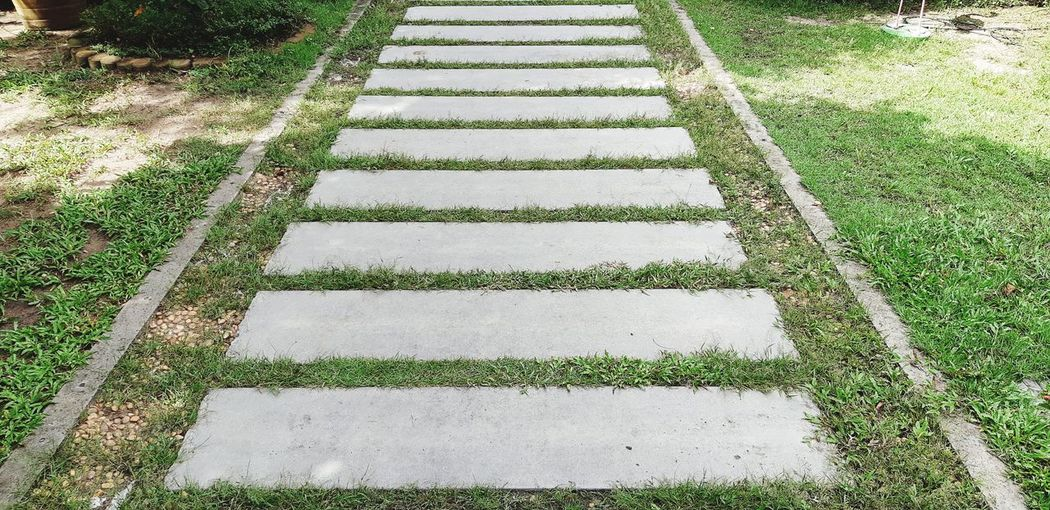 High angle view of empty footpath