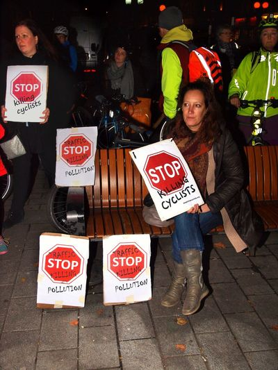 Stop Killing Cyclists. Vigil +Die-In. To honour cyclist killed by a heavy goods vehicle on Pentonville Road. Islington Town Hall. Upper Street. Islington. 08/11/2017 Stop Killing Cyclists London Cycling Campain Politics And Government Cyclist Protest Steve Merrick London News Stevesevilempire Vigil Olympus Protest Cyclists London Islington Protestor Zuiko Cycling