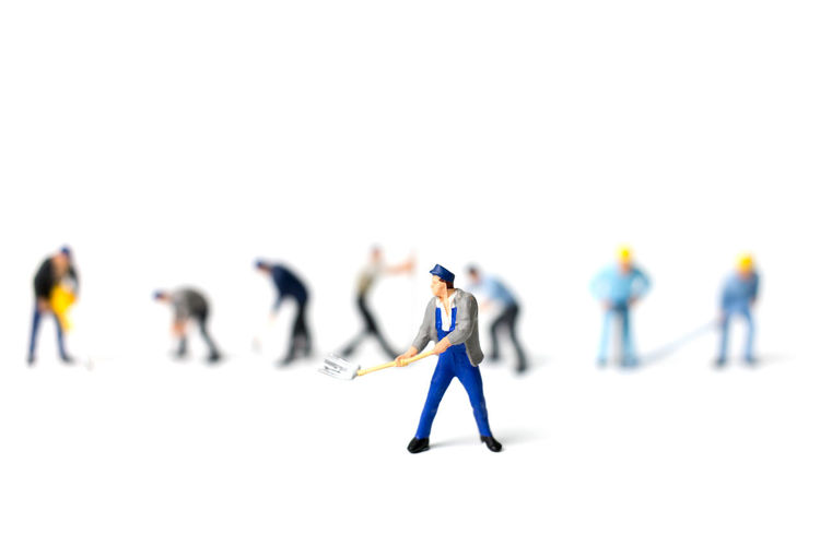 Business Concept Construction Equipment Figure Figurine  Group Hand Holding Isolated Little Male Man Men Metal Miniature Object People person Small Team Teamwork Tiny Tool White Work Worker Working