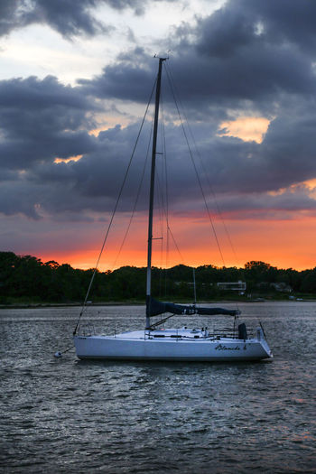 Sag Harbor Beauty In Nature Cloud - Sky Hamptons Mast Nature Nautical Vessel No People Outdoors Sail Boat Sailing Scenics Sea Sky Sunset Water