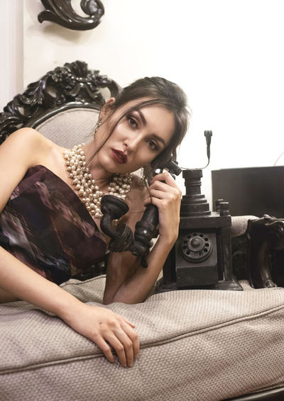 Beautiful Woman Beauty Day Fashion Fashion Model Lingerie Old-fashioned One Person Portrait Real People Retro Styled Rotary Phone Using Phone Young Adult Young Women