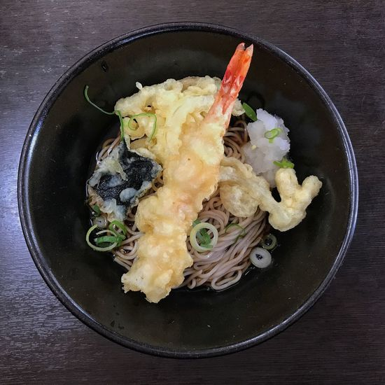 Soba Soba Noodles Lunch Tempura Tempurashrimp Food And Drink Food Ready-to-eat Freshness Indoors  Healthy Eating No People Serving Size Plate Table Vegetable Close-up Day