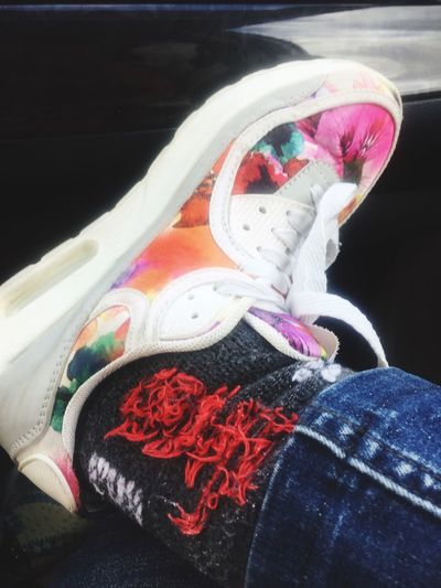 Close-up Shoes Of The Day Flowers Socks Jeans♡