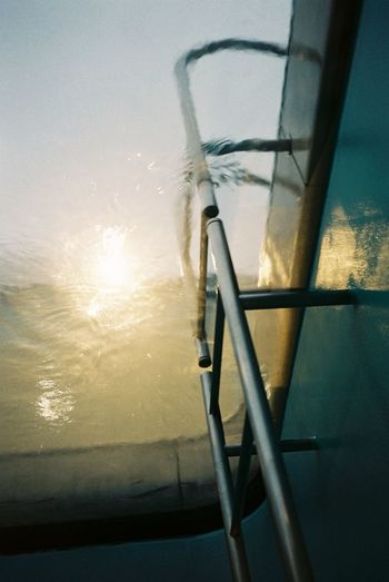 EyeEm Gallery Favorite Picture Film Photography Filmphotography Inside The Pool Ladder Museum No Edit/no Filter No People Pool Sumset Sun Swimming Pool Under The Water Water Wintertime Athleisure My Year My View