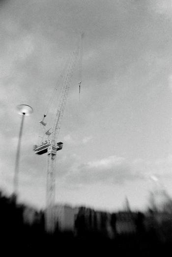 2001 Black & White Cityscape Construction Crane Selective Focus Silhouette Street Photography Urban