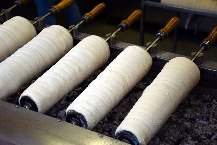 Preparation of the famous, traditional and delicious hungarian chimney cake -kurtoskalacs