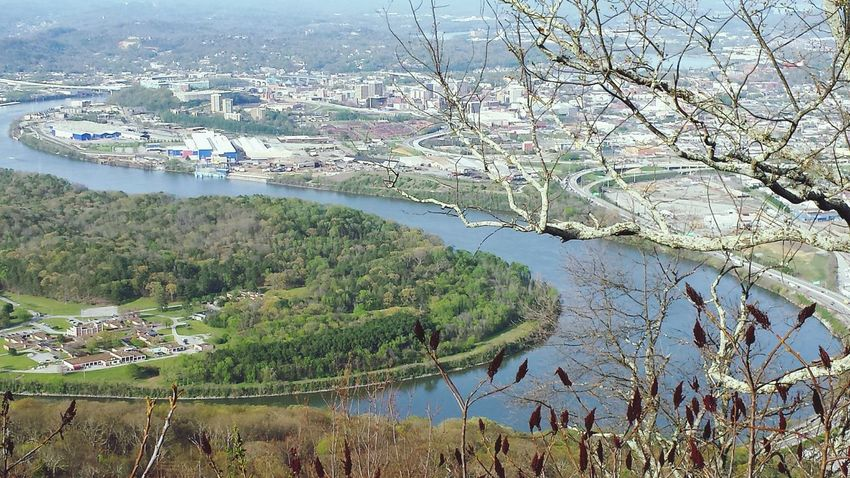 High Angle View Aerial View Cityscape Water Riverscape Outdoors Sky Nature Landscape No People Beauty In Nature City Of Chattanooga Below.