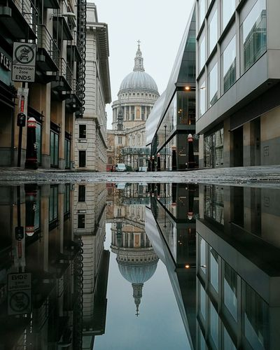 St Paul's Cathedral Reflection Architecture City Building Exterior Dome No People Cityscape London Urbanphotography Urban City Water Puddle