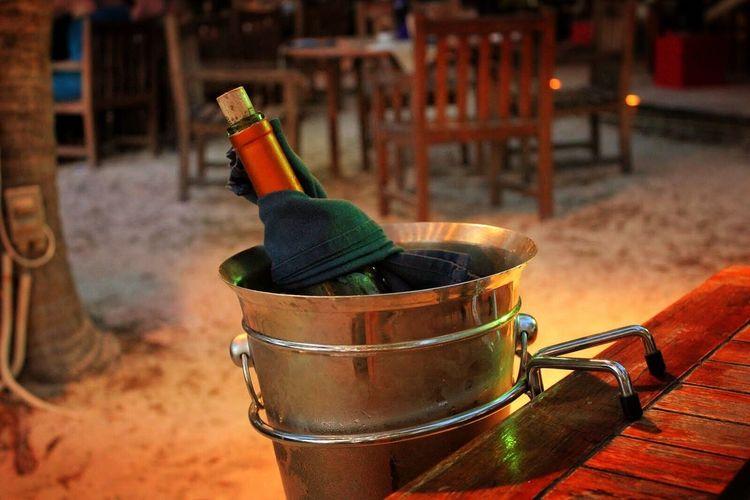 Beach Bar Aruba Hanging Out Enjoying Life Taking Photos White Wine Bottle Night Time Relaxing Table Focus On Foreground